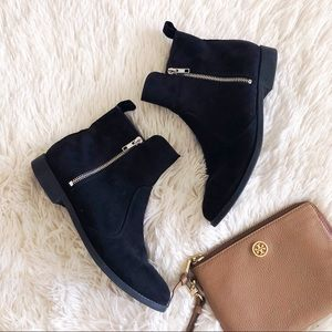 H&M black faux suede ankle side zip booties